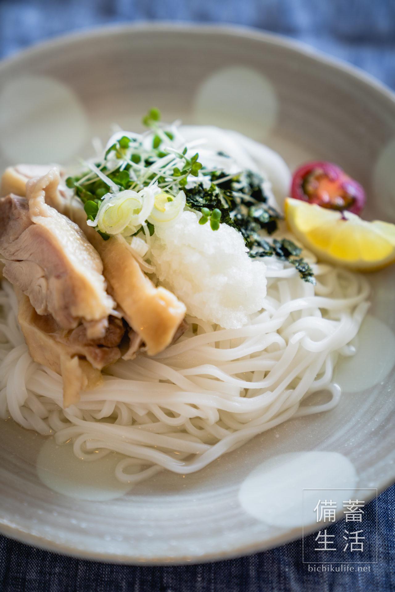 こまち麺 秋田県産あきたこまちを使用の半生麺のレシピ、鶏肉おろしのお米麺