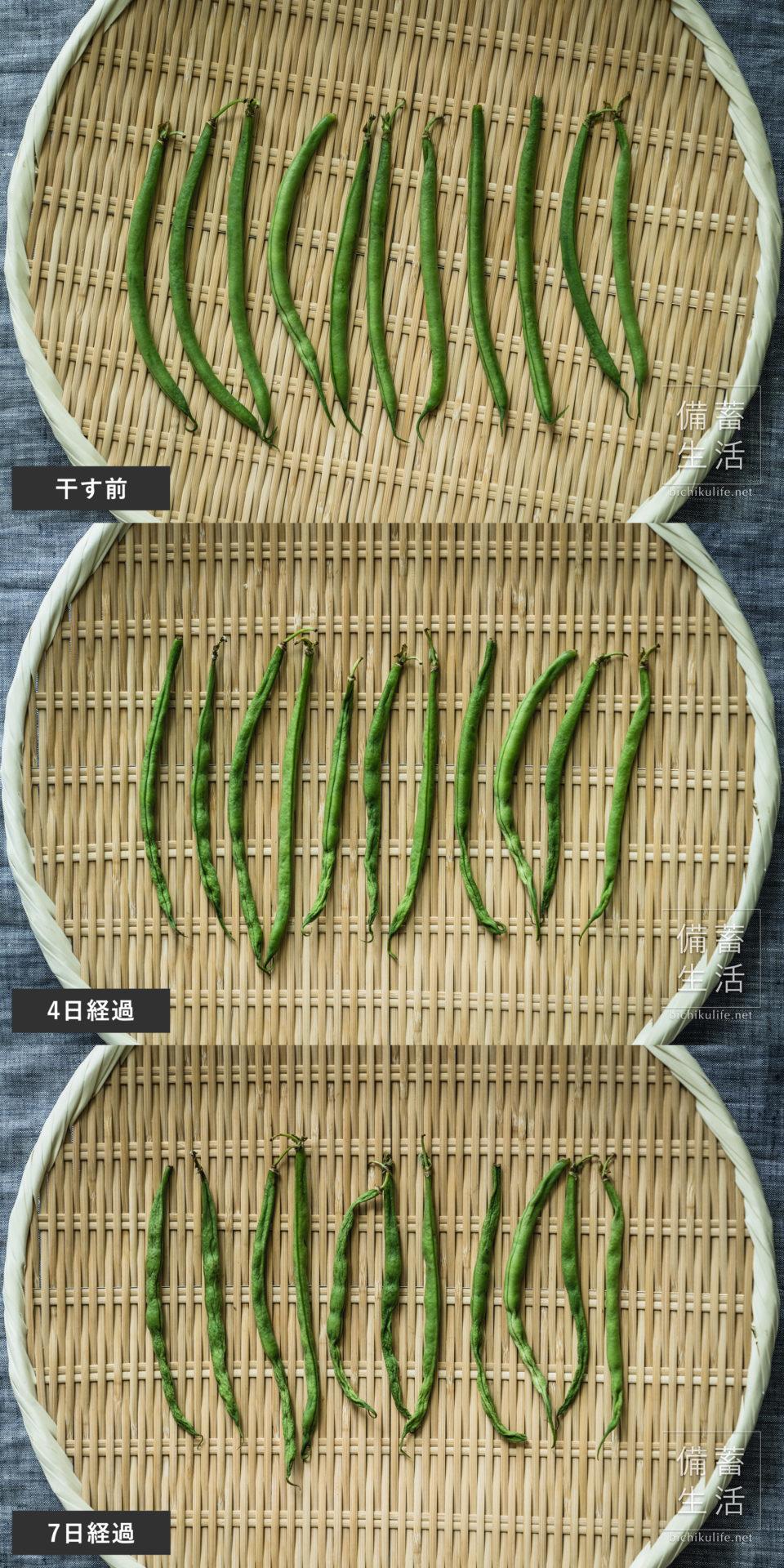さやいんげん 干し野菜づくり|干しサヤインゲンの作り方