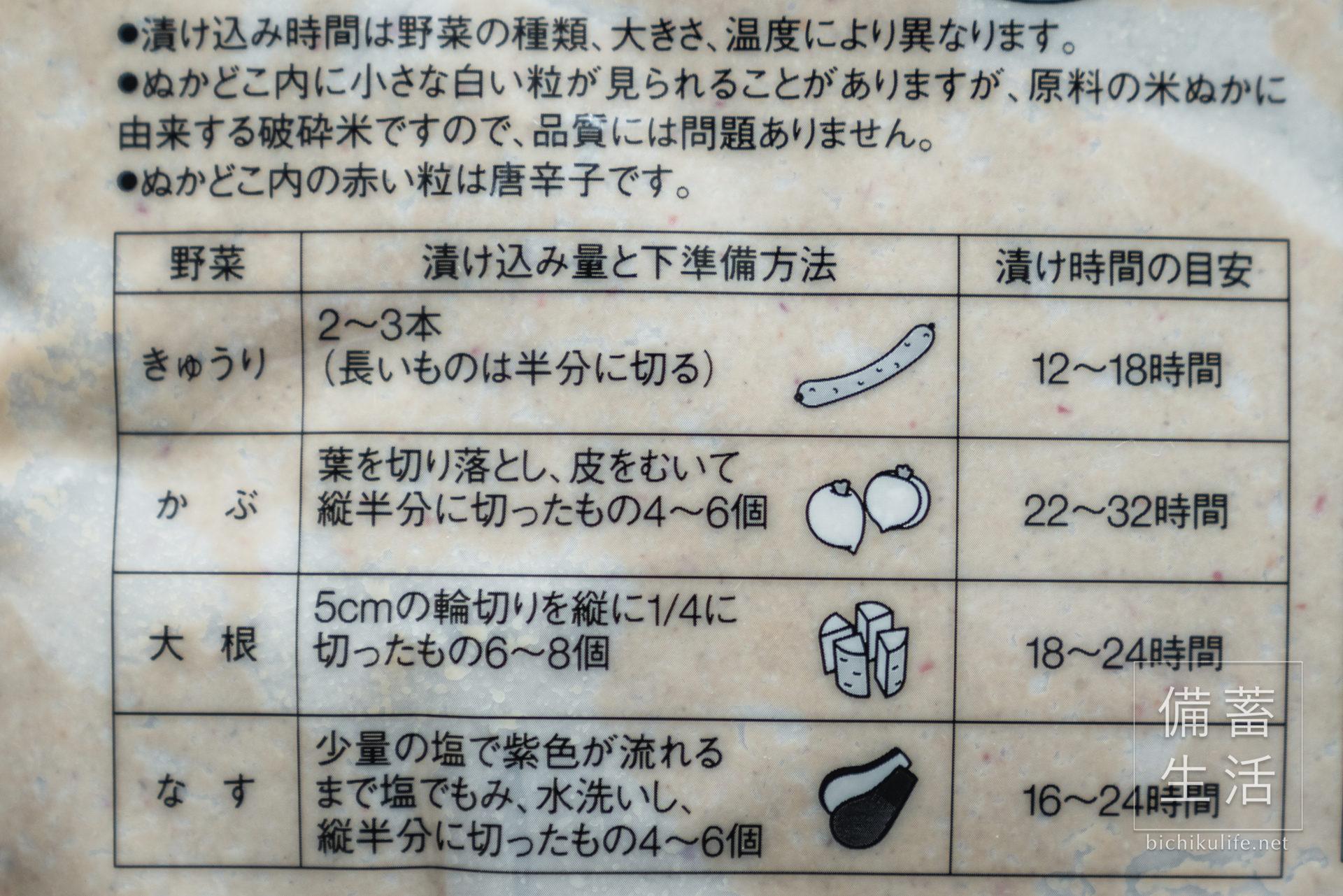 無印良品 発酵ぬかどこの漬け込み量と下準備方法