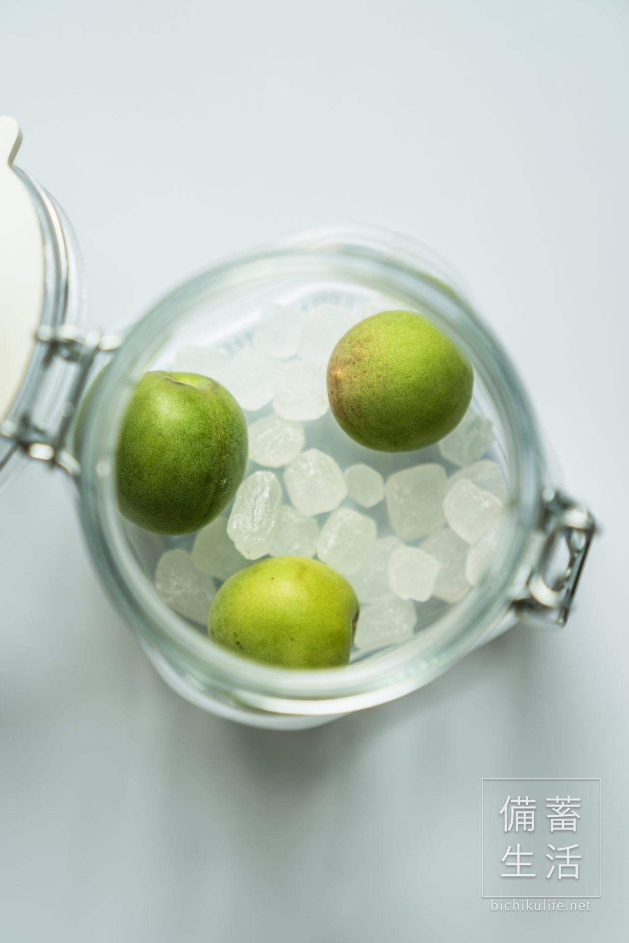 梅シロップづくり 青梅と氷砂糖を保存容器に詰める