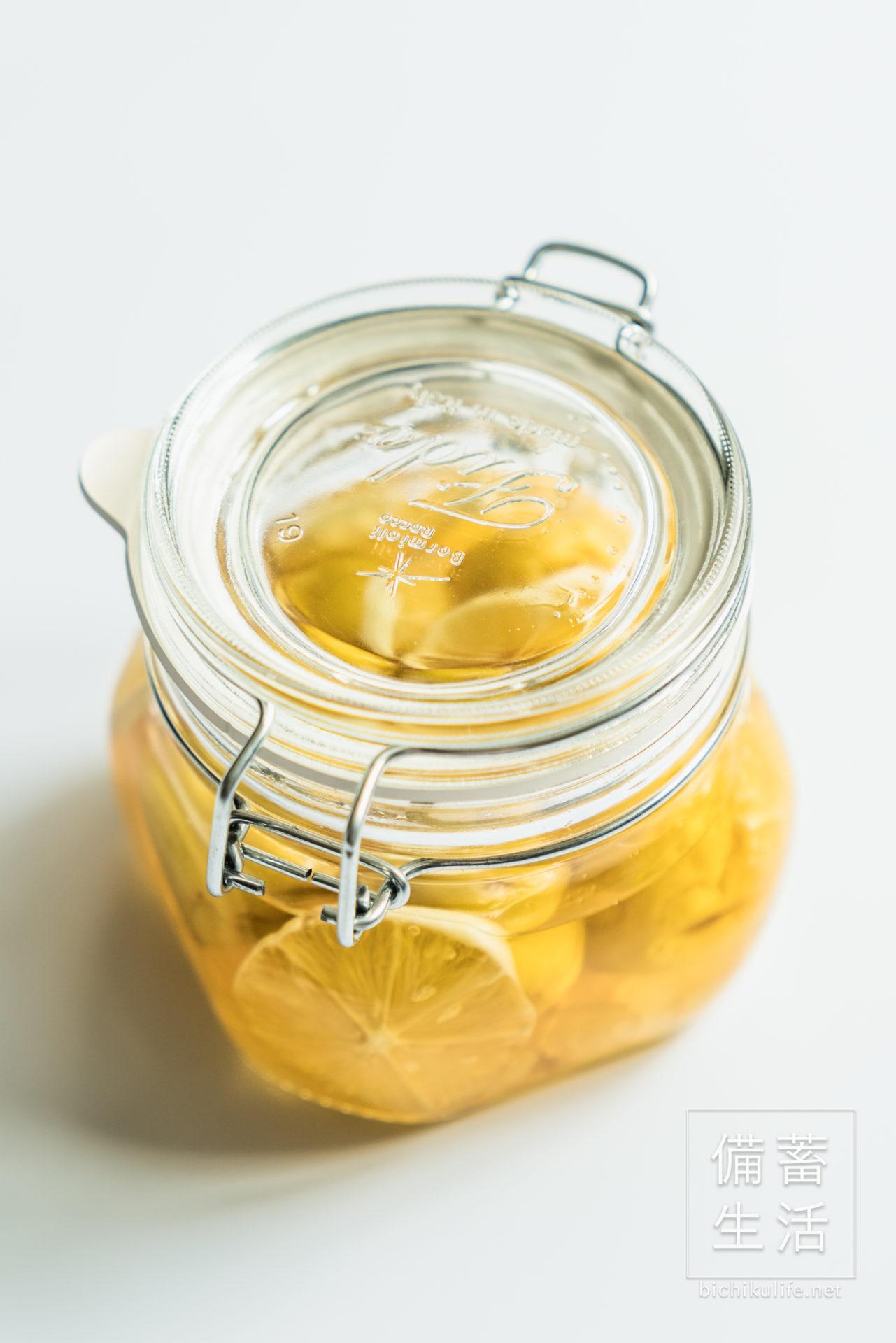 梅シロップ はちみつレモン、漬け込んで1週間後の様子