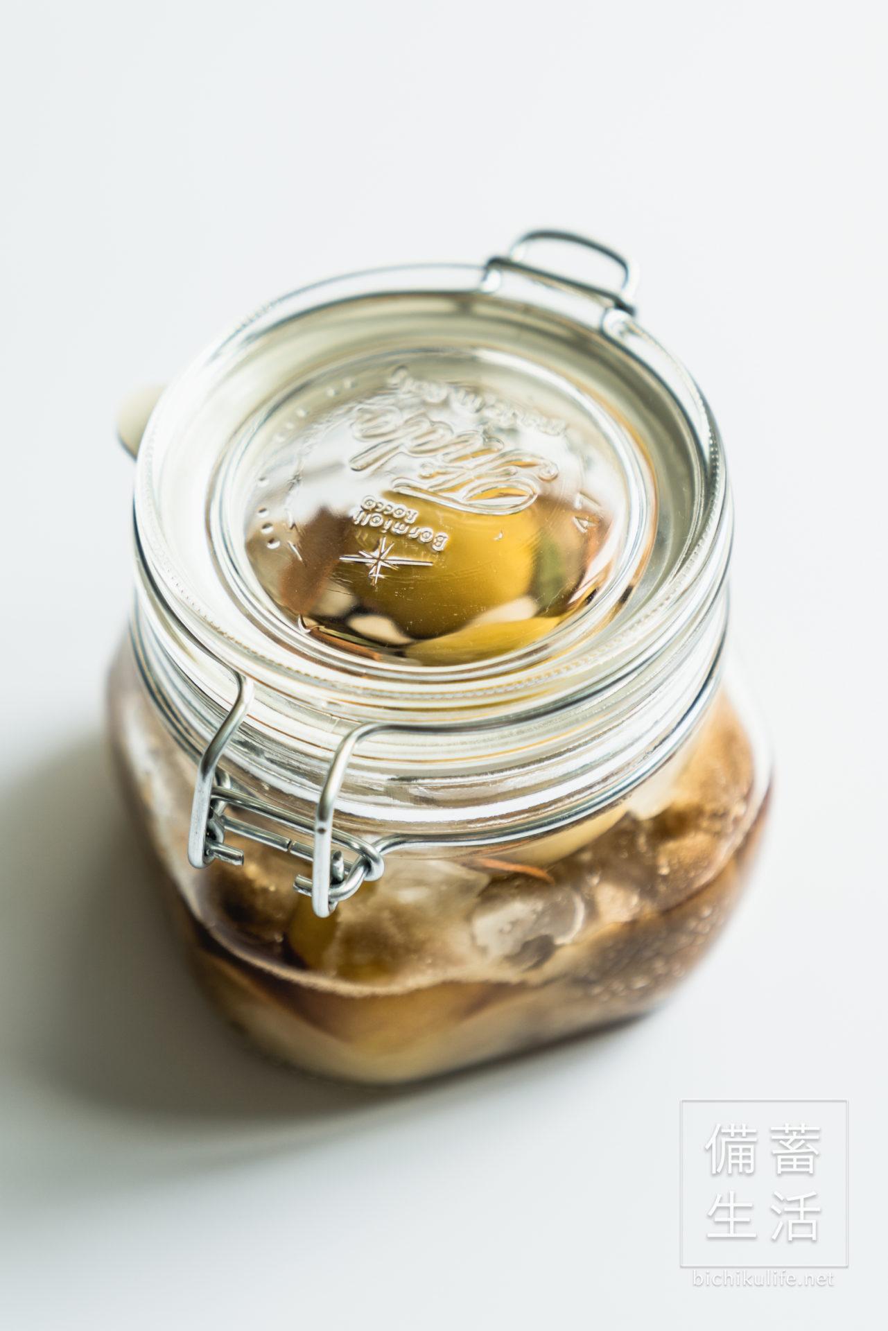 梅シロップ スパイス梅シロップのレシピ、保存瓶を密封する