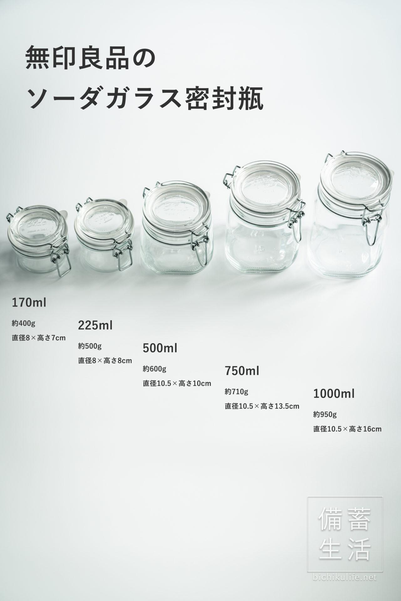 無印良品 ソーダガラス密封ビンの5種類サイズ・容量比較表
