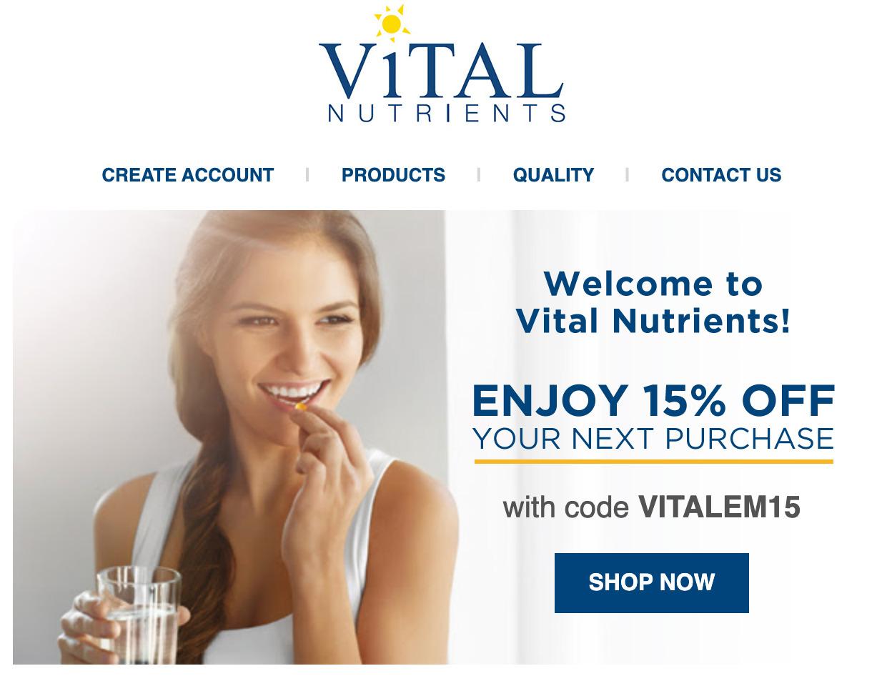 Vital Nutrients ニュースレター登録の割引クーポン