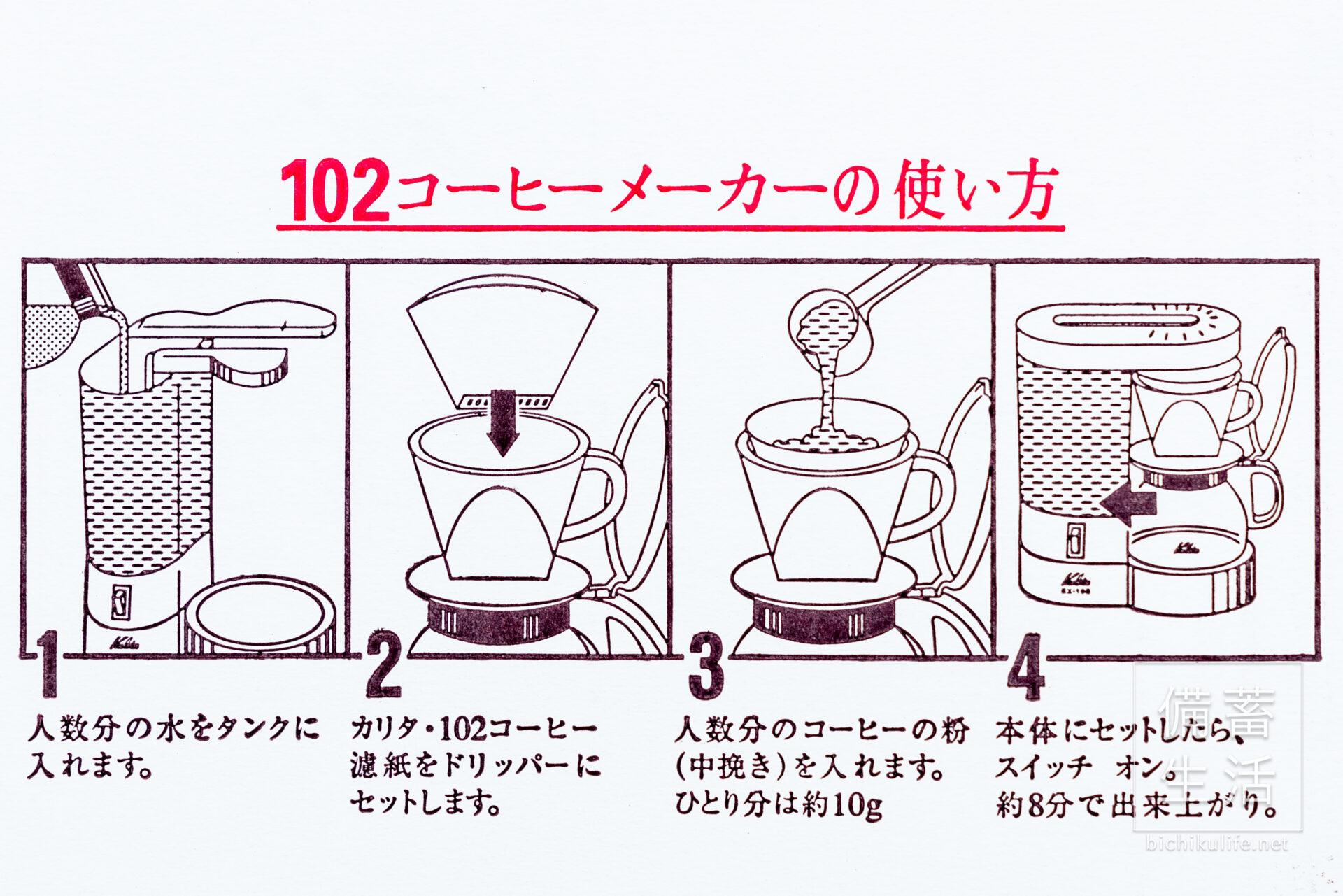 Kalita(カリタ)のコーヒーマシン EX-102N 102コーヒーメーカーの使い方