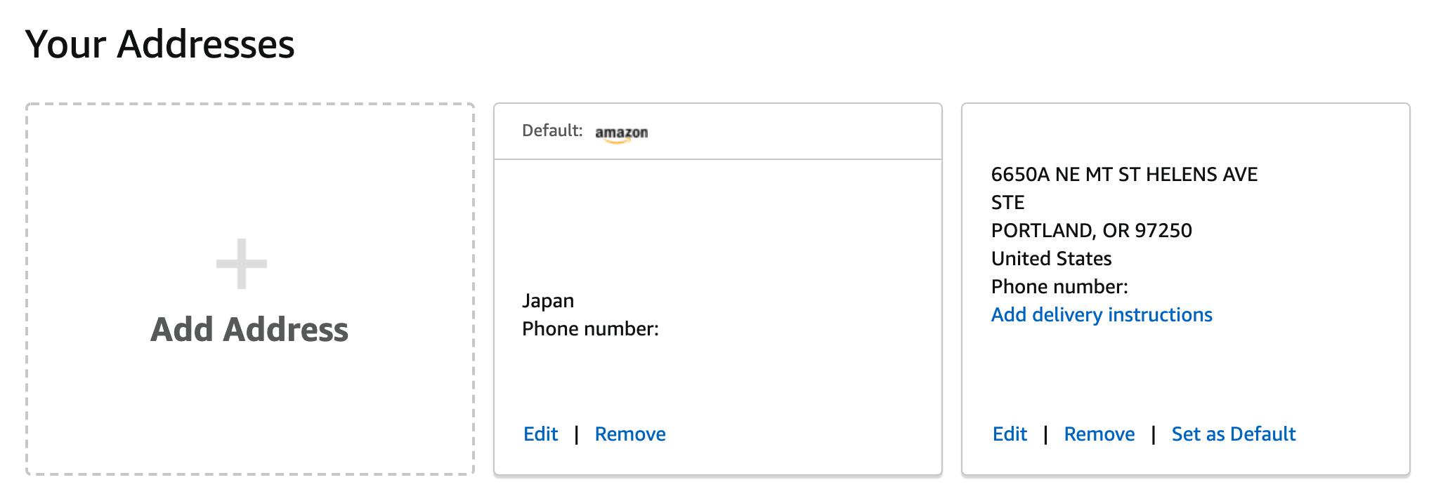Amazon.com(アメリカ)の購入方法・個人輸入する方法 住所の登録