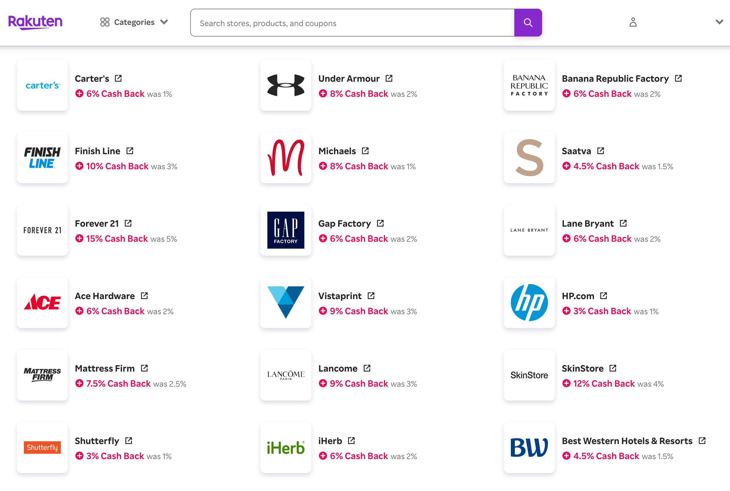 アメリカの楽天「Rakuten.com」キャッシュバックサイトの使い方 Cash Back Storesが狙い目