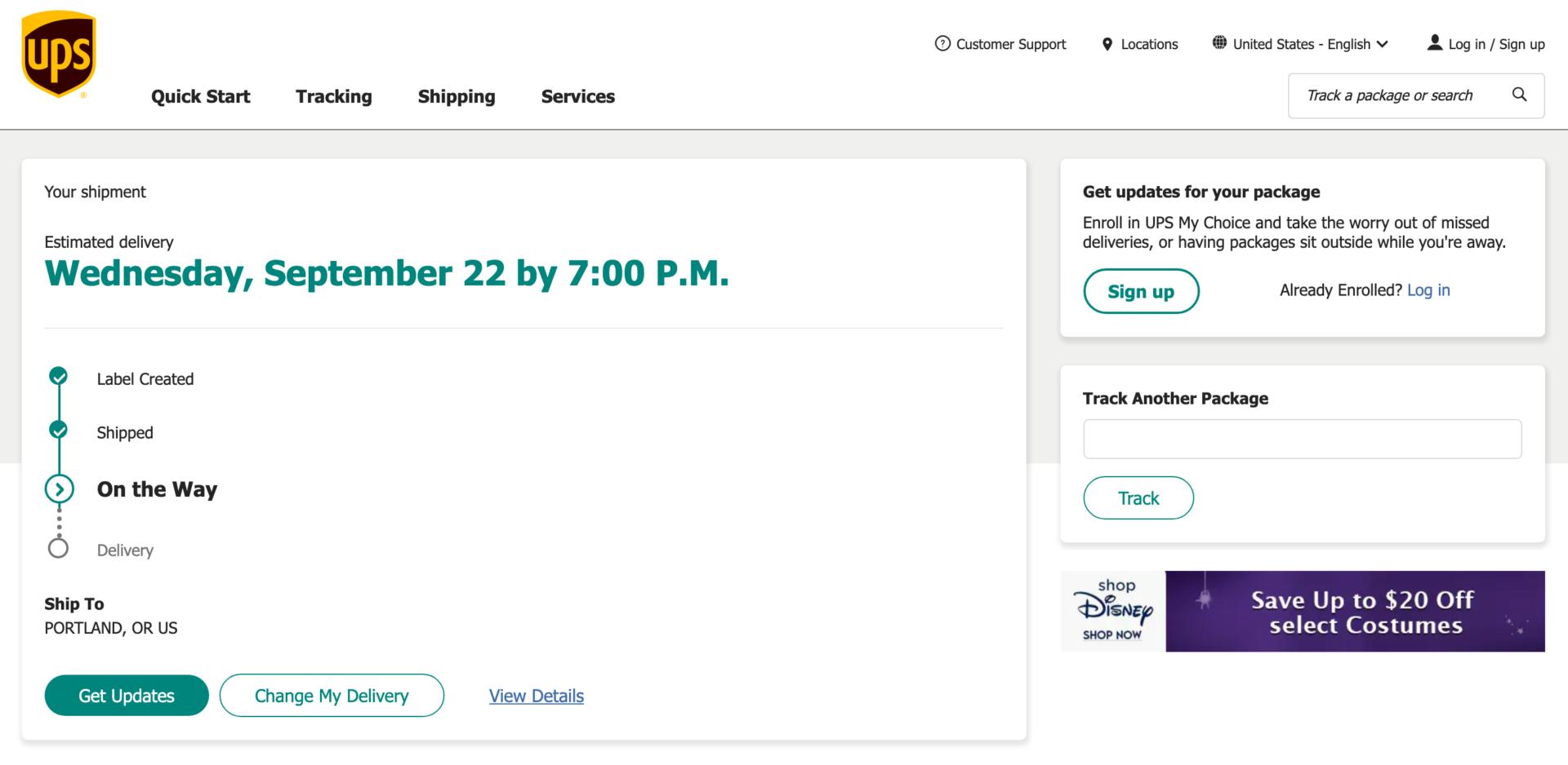shopDisney US(アメリカ)注文した商品の配送追跡